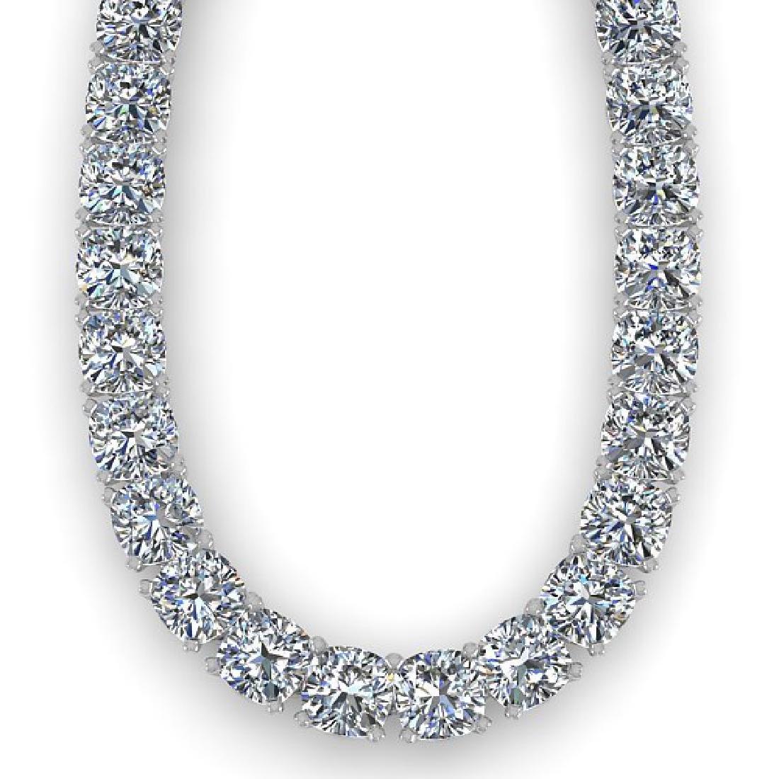 40 CTW Cushion Cut Certified SI Diamond Necklace 14K - 2