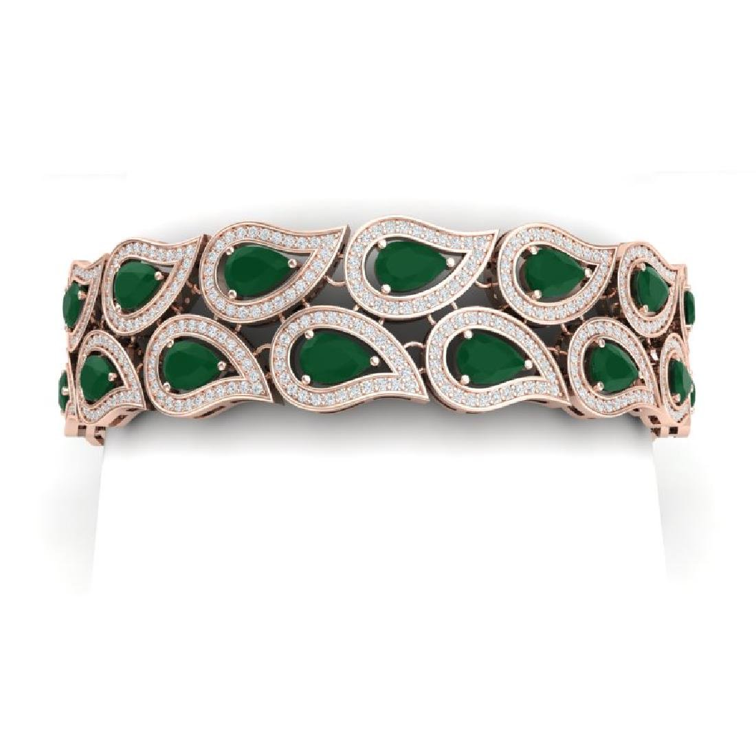 20.1 CTW Royalty Emerald & VS Diamond Bracelet 18K Rose