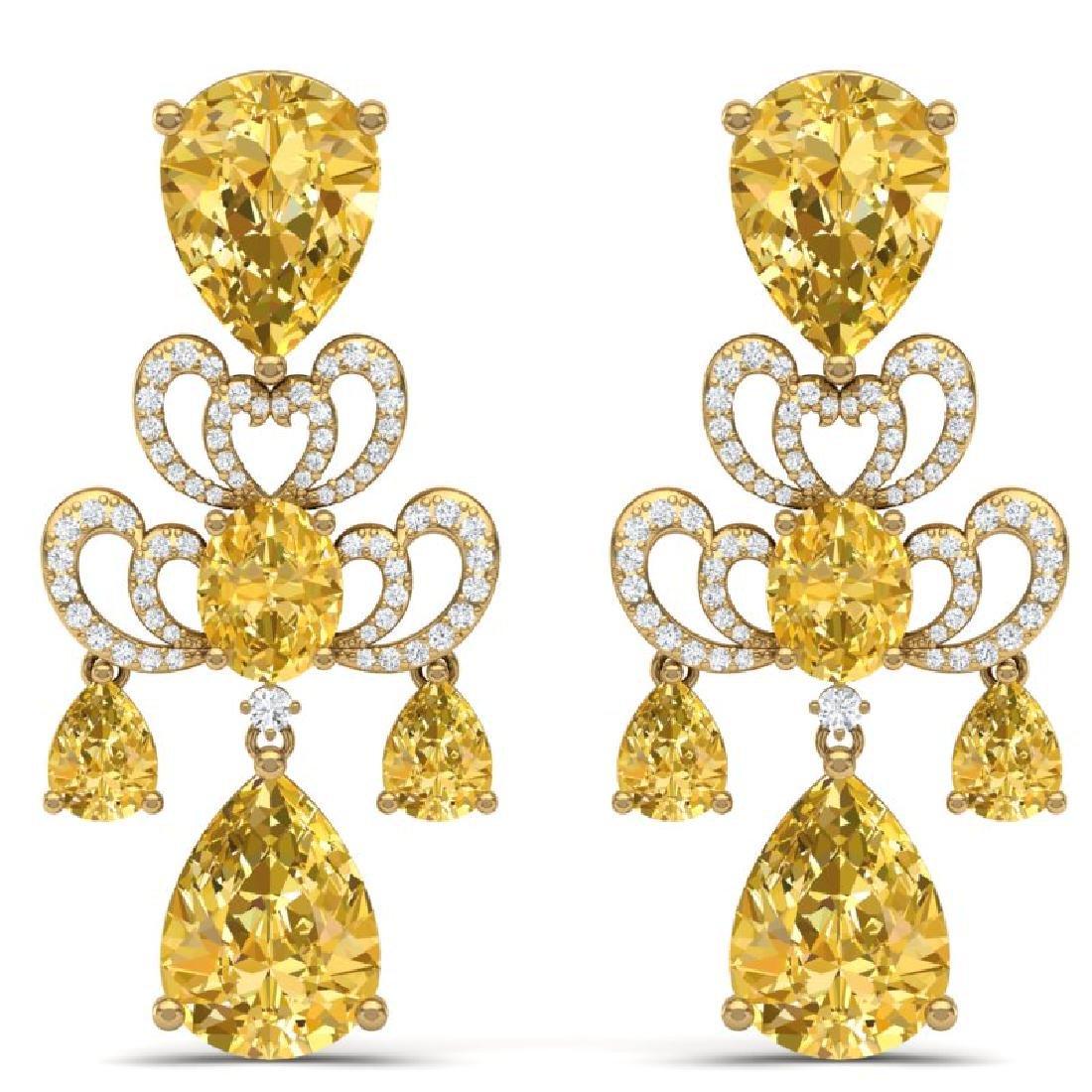 55.89 CTW Royalty Canary Citrine & VS Diamond Earrings