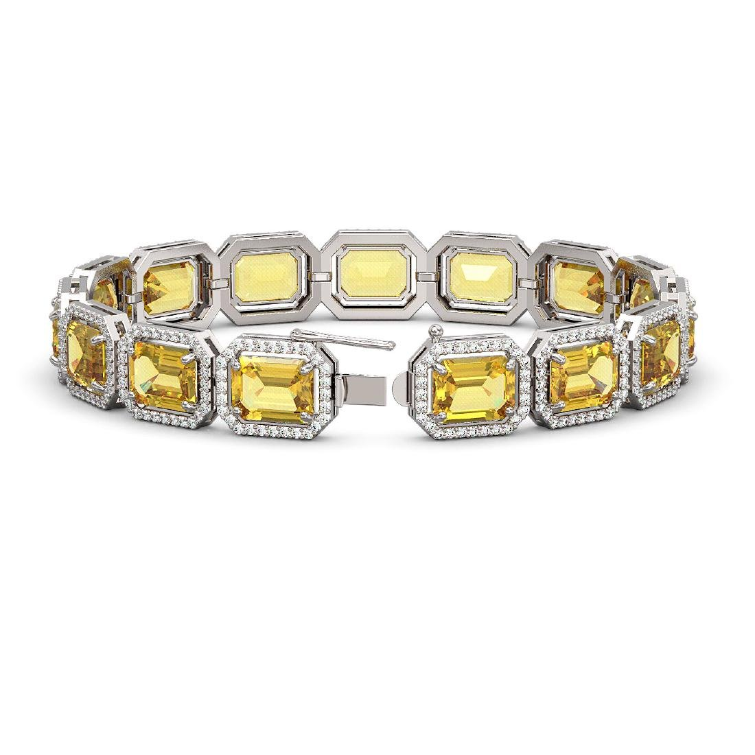 34.91 CTW Fancy Citrine & Diamond Halo Bracelet 10K - 2