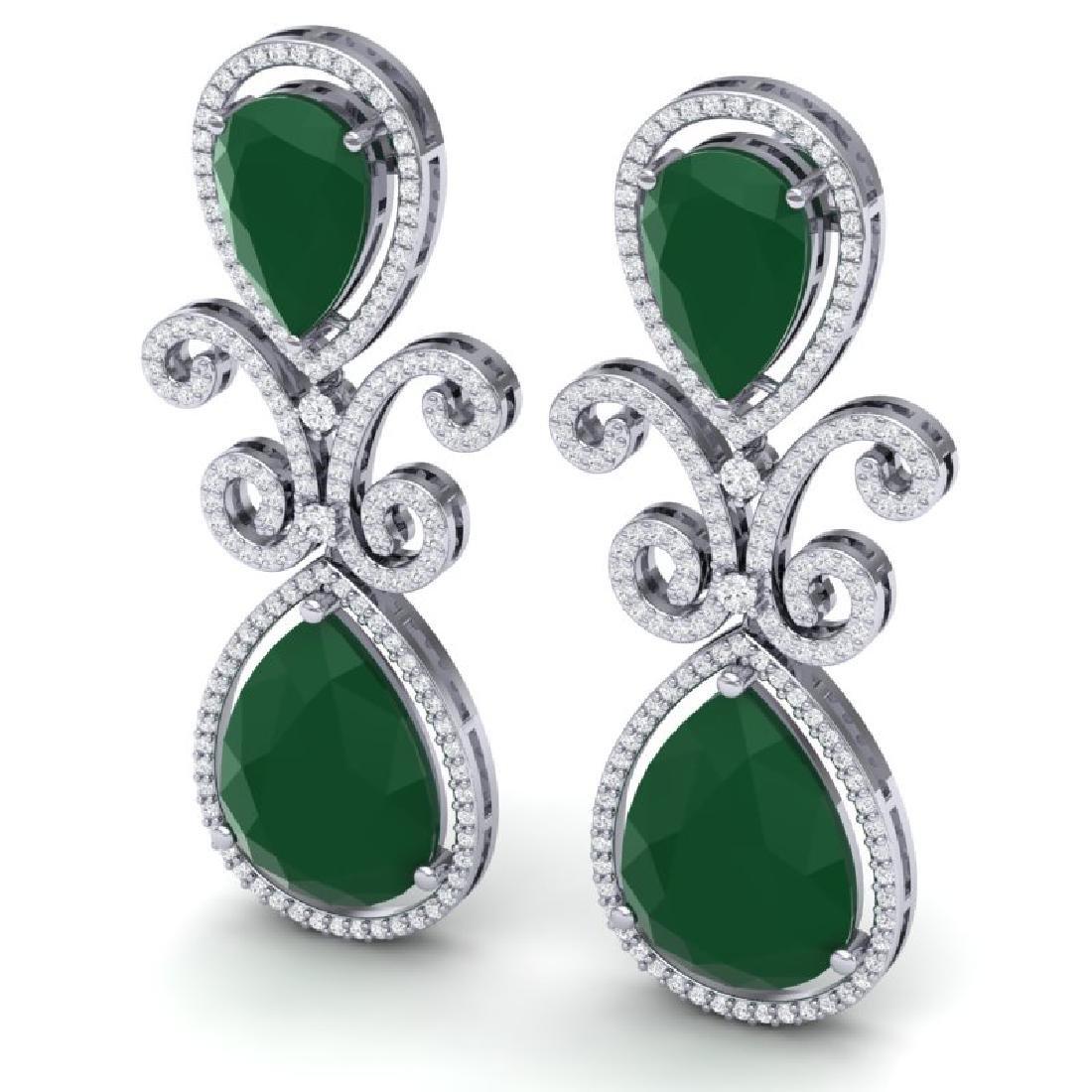 31.6 CTW Royalty Emerald & VS Diamond Earrings 18K - 2