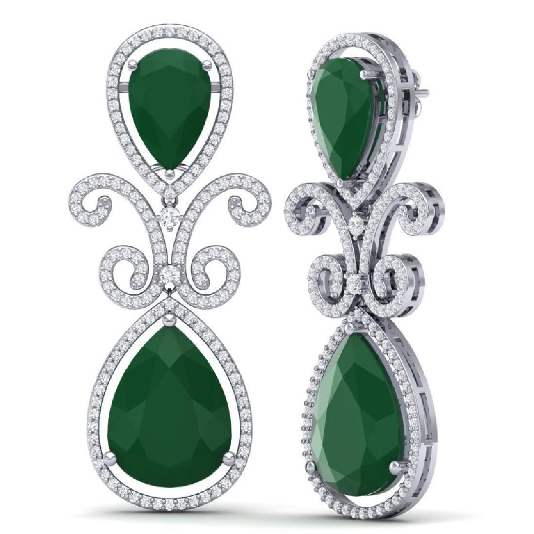 31.6 CTW Royalty Emerald & VS Diamond Earrings 18K - 3