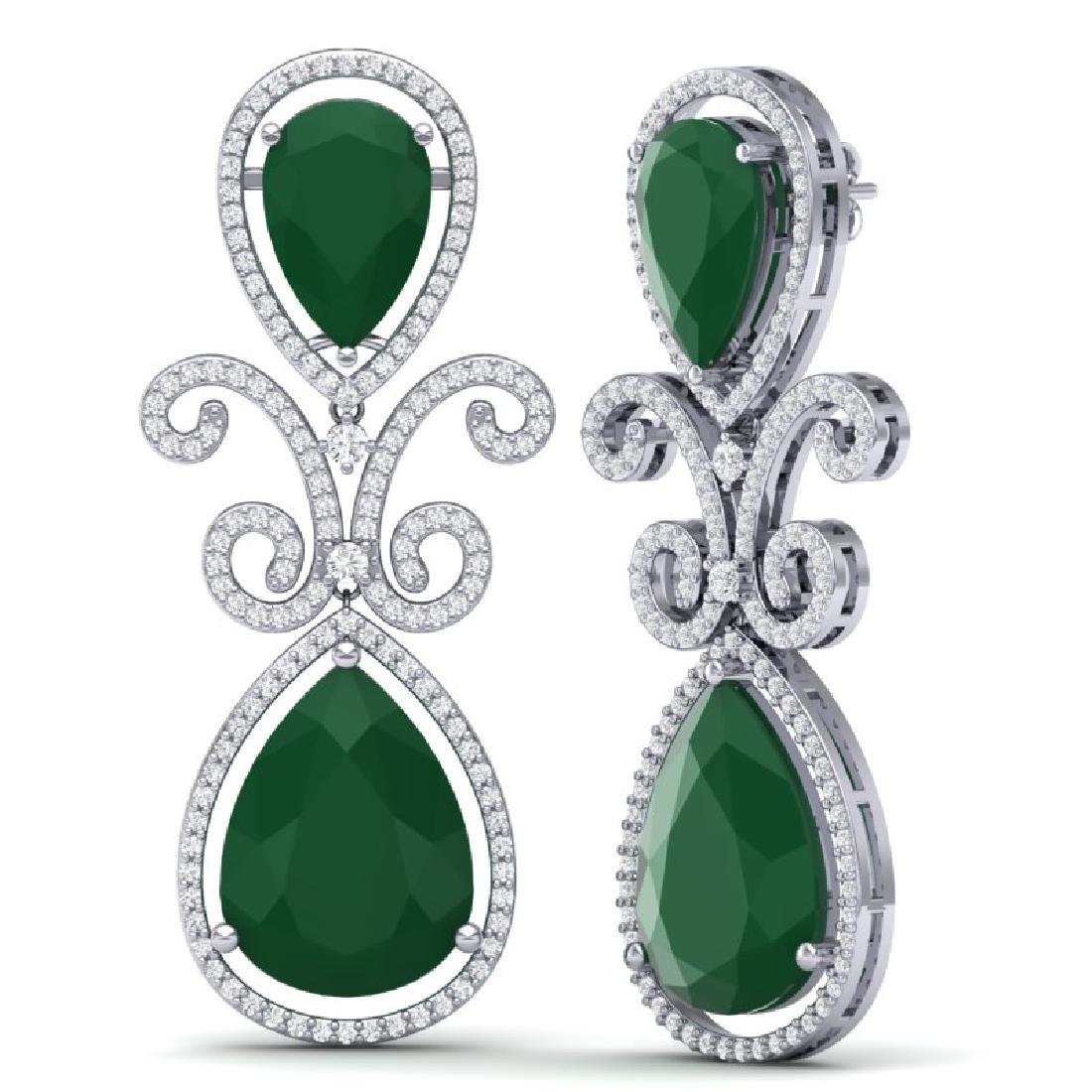 31.6 CTW Royalty Emerald & VS Diamond Earrings 18K - 3
