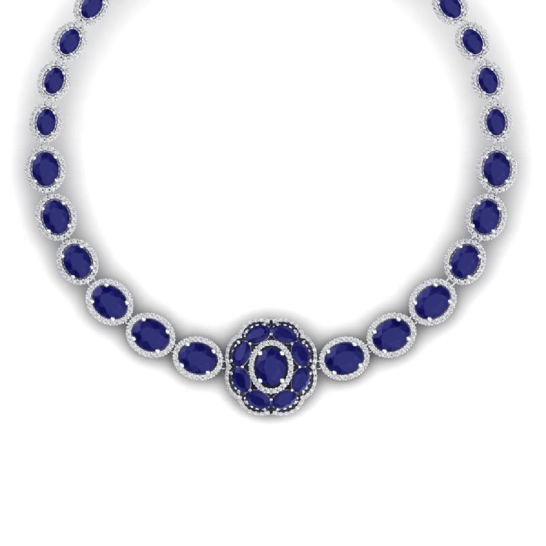 58.33 CTW Royalty Sapphire & VS Diamond Necklace 18K - 2