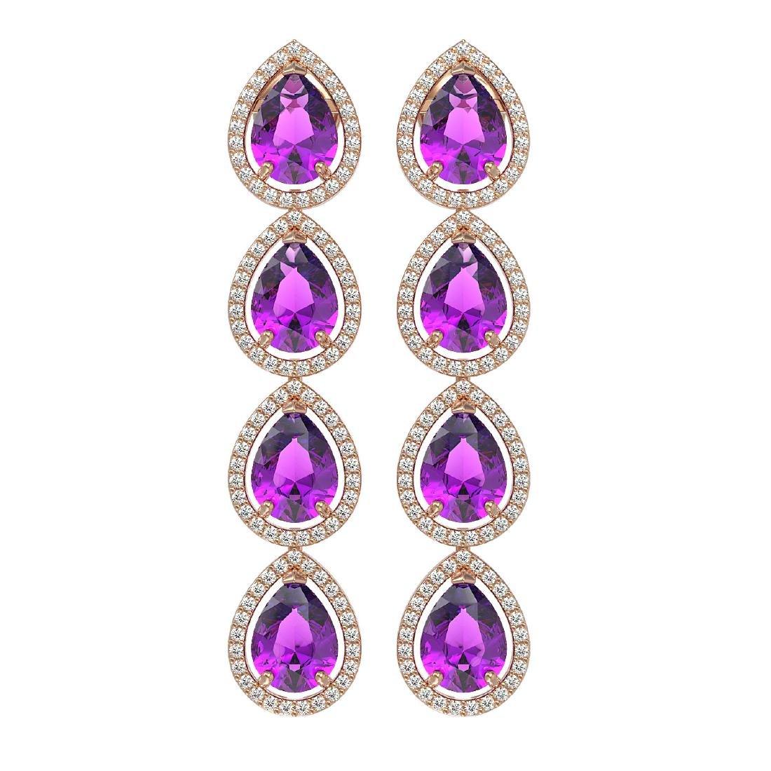 10.85 CTW Amethyst & Diamond Halo Earrings 10K Rose
