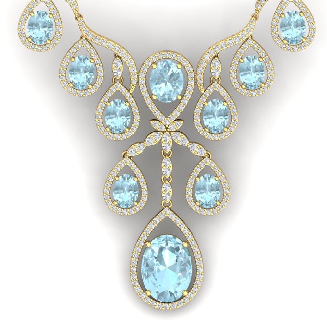 37.91 CTW Royalty Sky Topaz & VS Diamond Necklace 18K