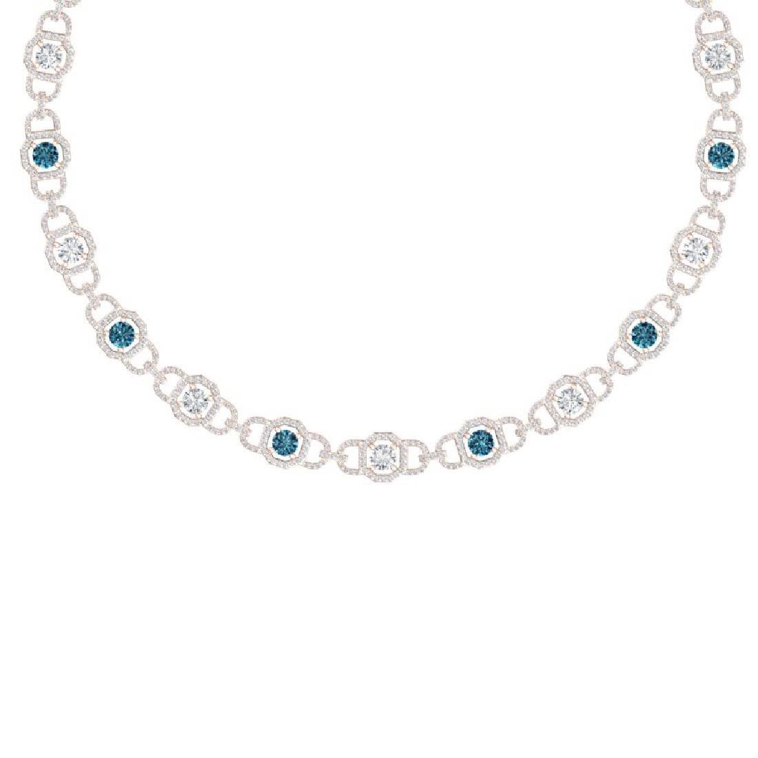 25 CTW SI/I Intense Blue And White Diamond Necklace 18K