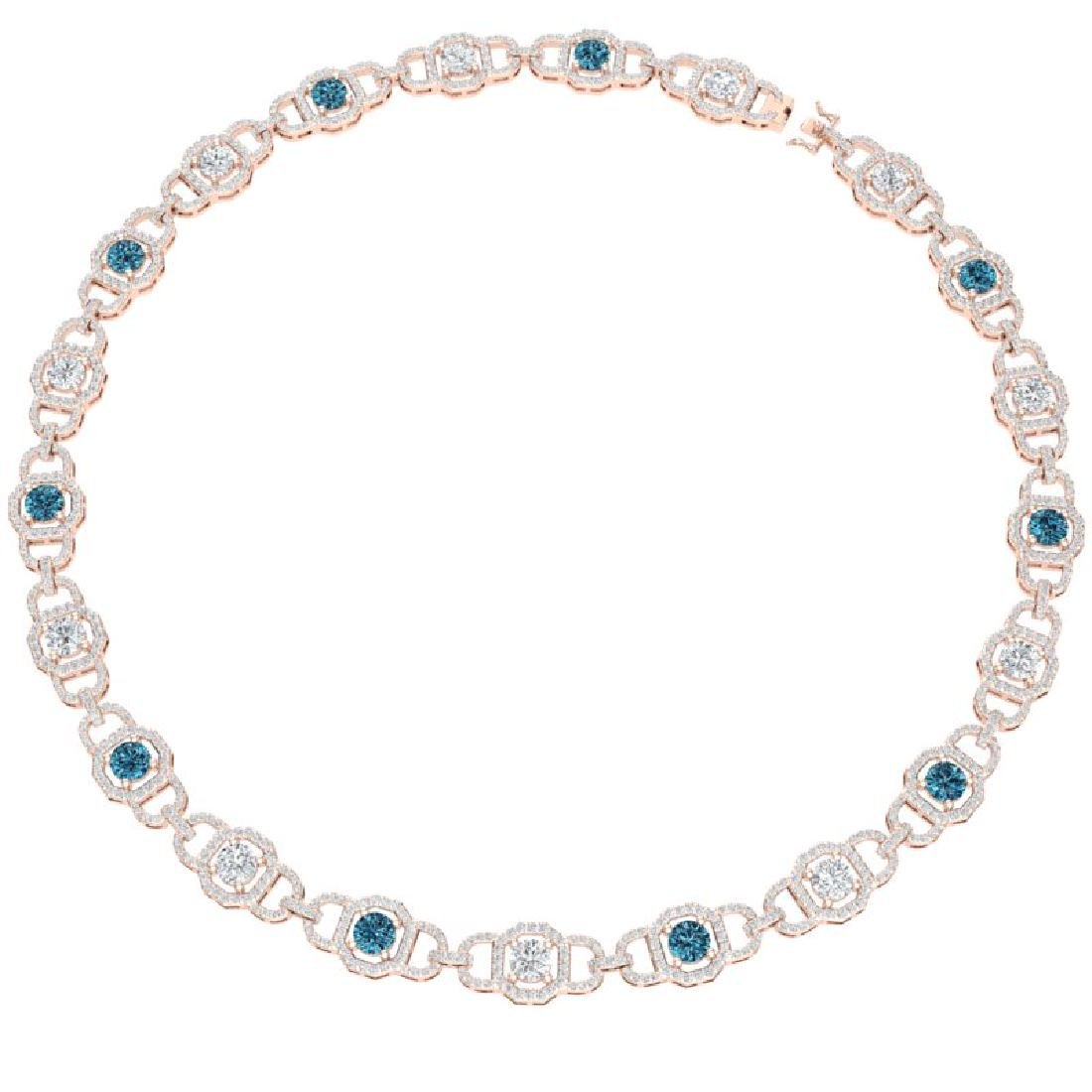 25 CTW SI/I Intense Blue And White Diamond Necklace 18K - 3