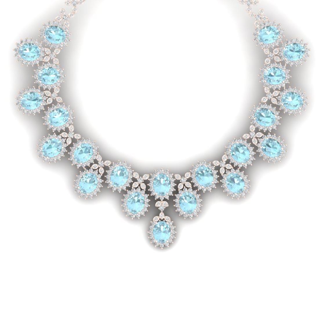 83 CTW Royalty Sky Topaz & VS Diamond Necklace 18K Rose