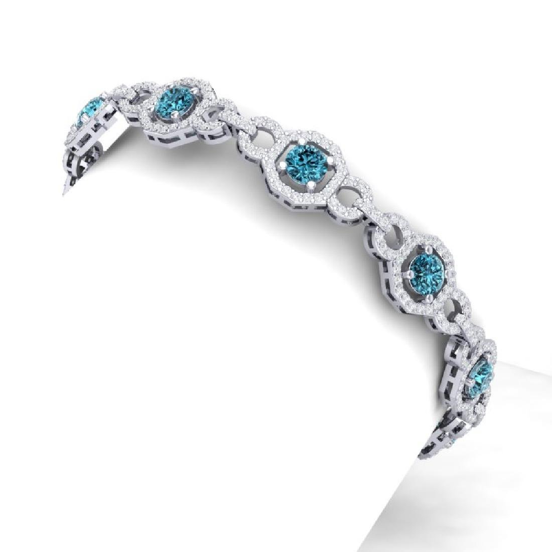 12 CTW SI/I Intense Blue And White Diamond Bracelet 18K