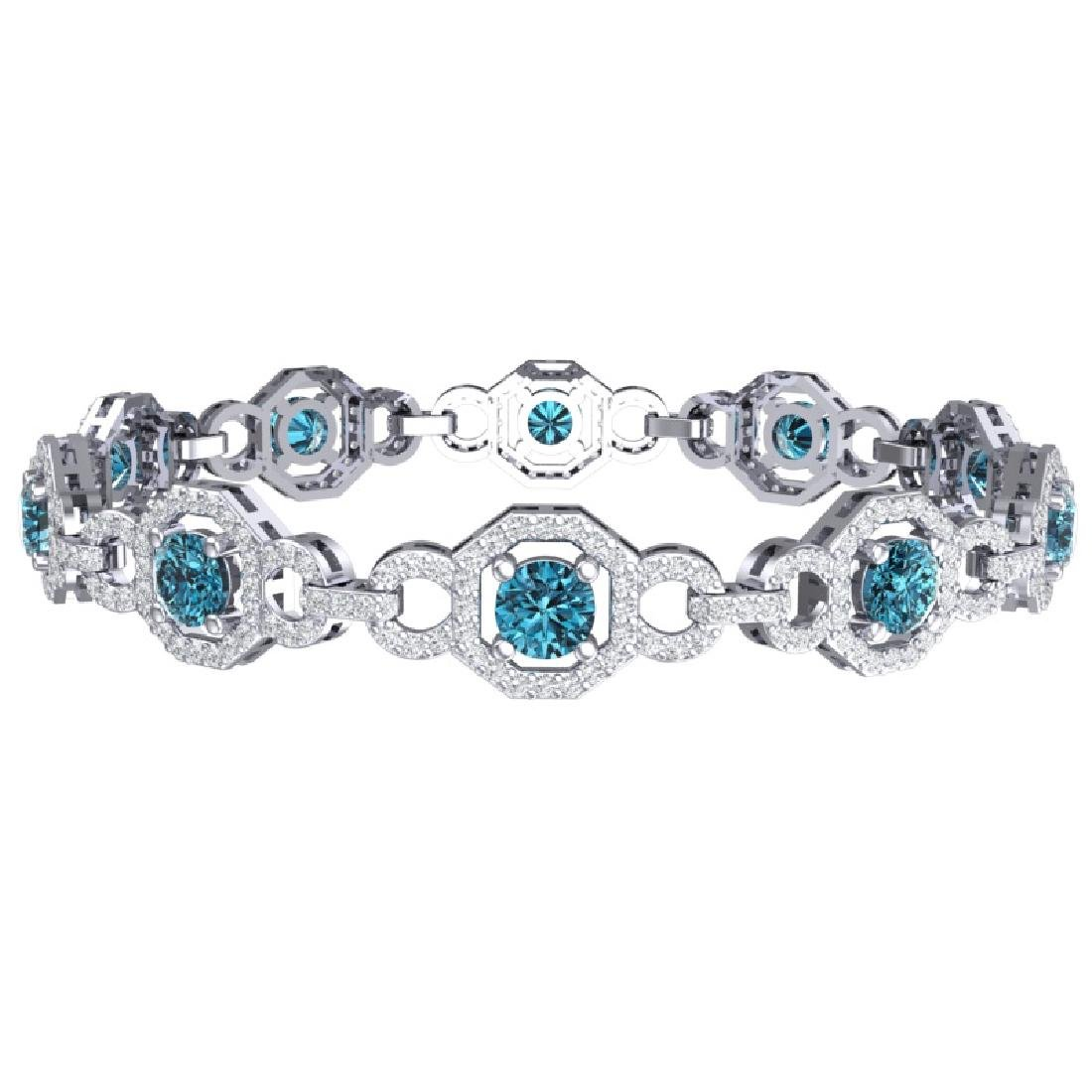 12 CTW SI/I Intense Blue And White Diamond Bracelet 18K - 3