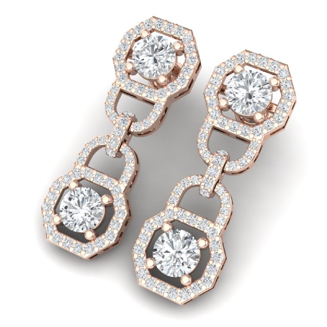 4 CTW Certified SI/I Diamond Halo Earrings 18K Rose