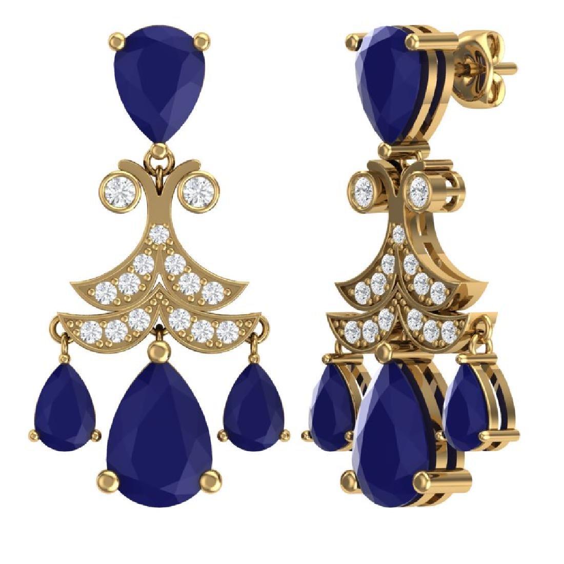 11.97 CTW Royalty Sapphire & VS Diamond Earrings 18K - 3