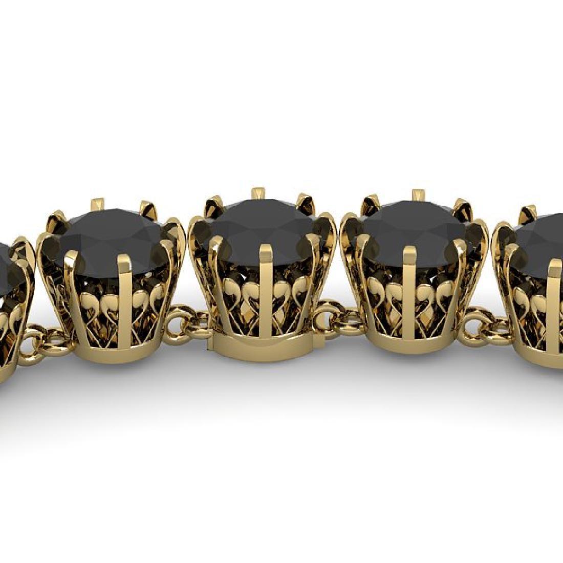 34 CTW Certified Black VS Diamond Necklace 14K Yellow