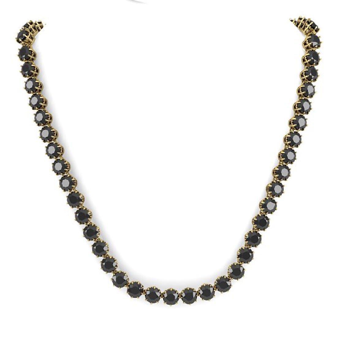 34 CTW Certified Black VS Diamond Necklace 14K Yellow - 2