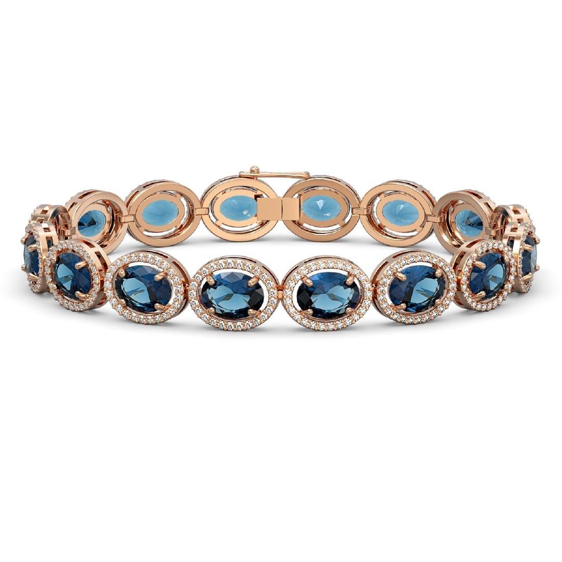 29.53 CTW London Topaz & Diamond Halo Bracelet 10K Rose