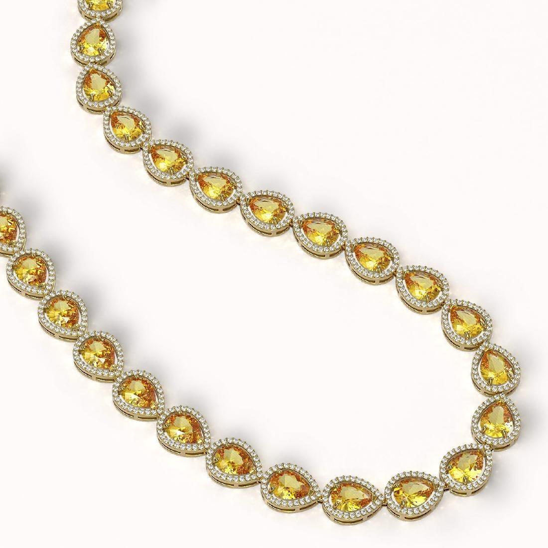 36.8 CTW Fancy Citrine & Diamond Halo Necklace 10K - 2