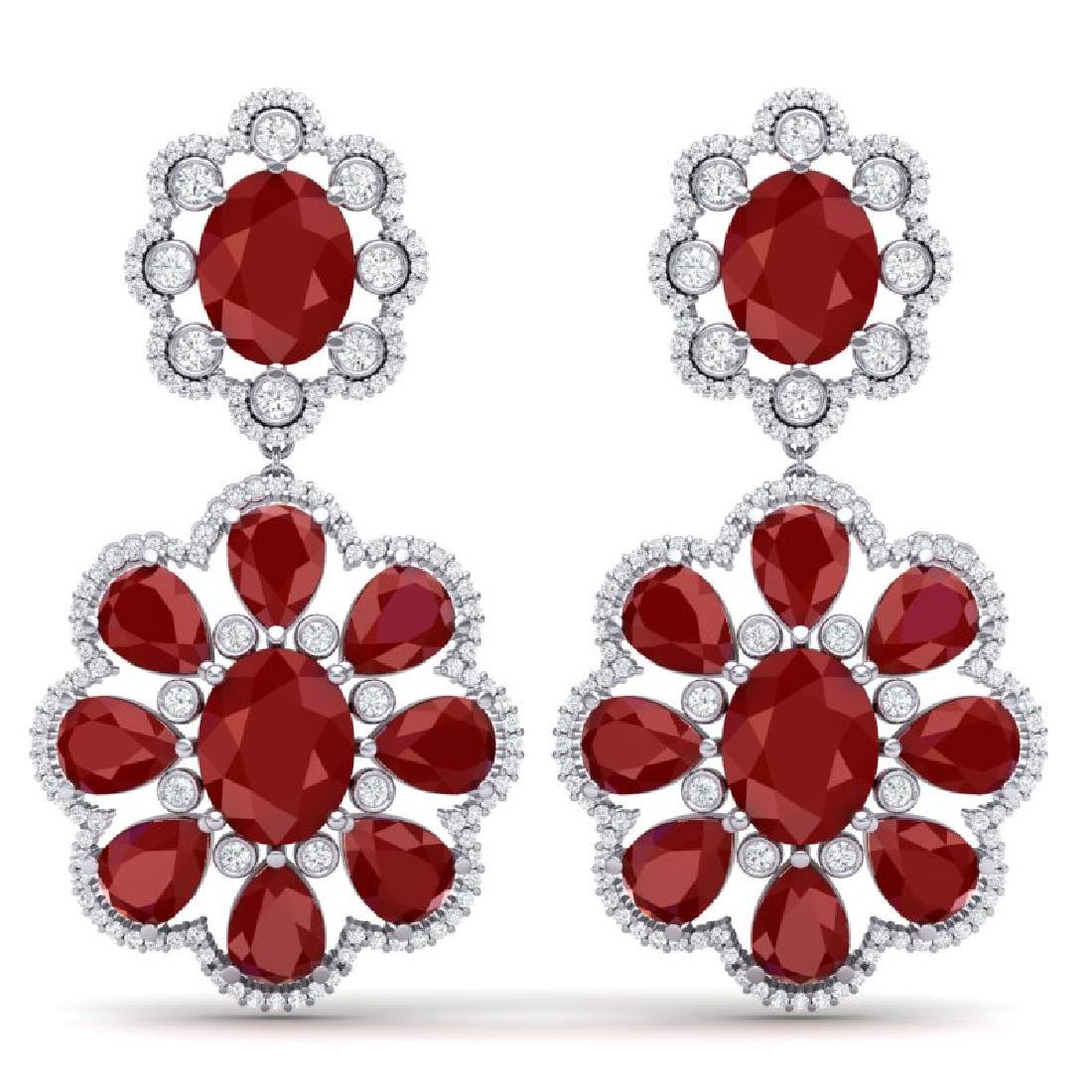 33.88 CTW Royalty Designer Ruby & VS Diamond Earrings