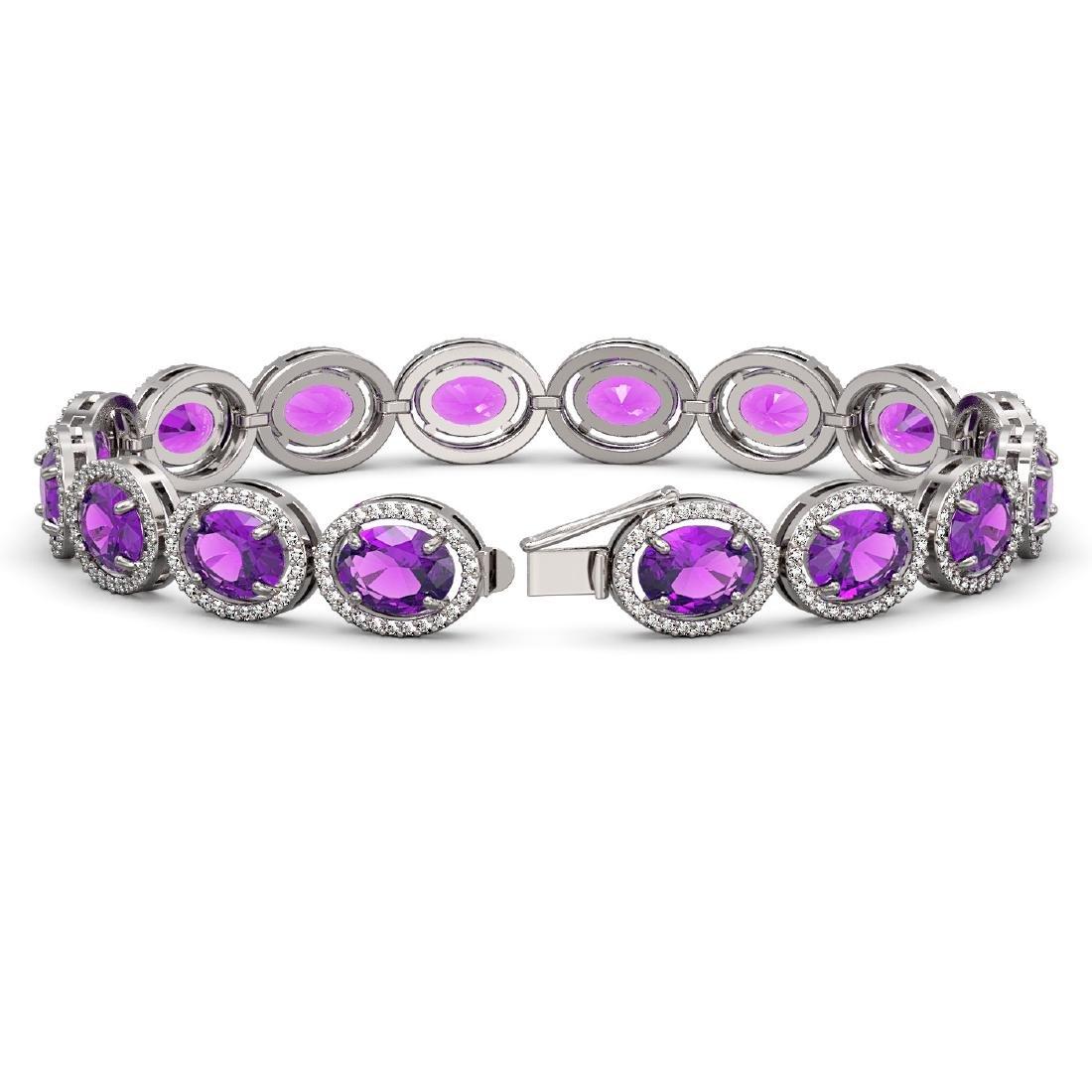 24.72 CTW Amethyst & Diamond Halo Bracelet 10K White - 2