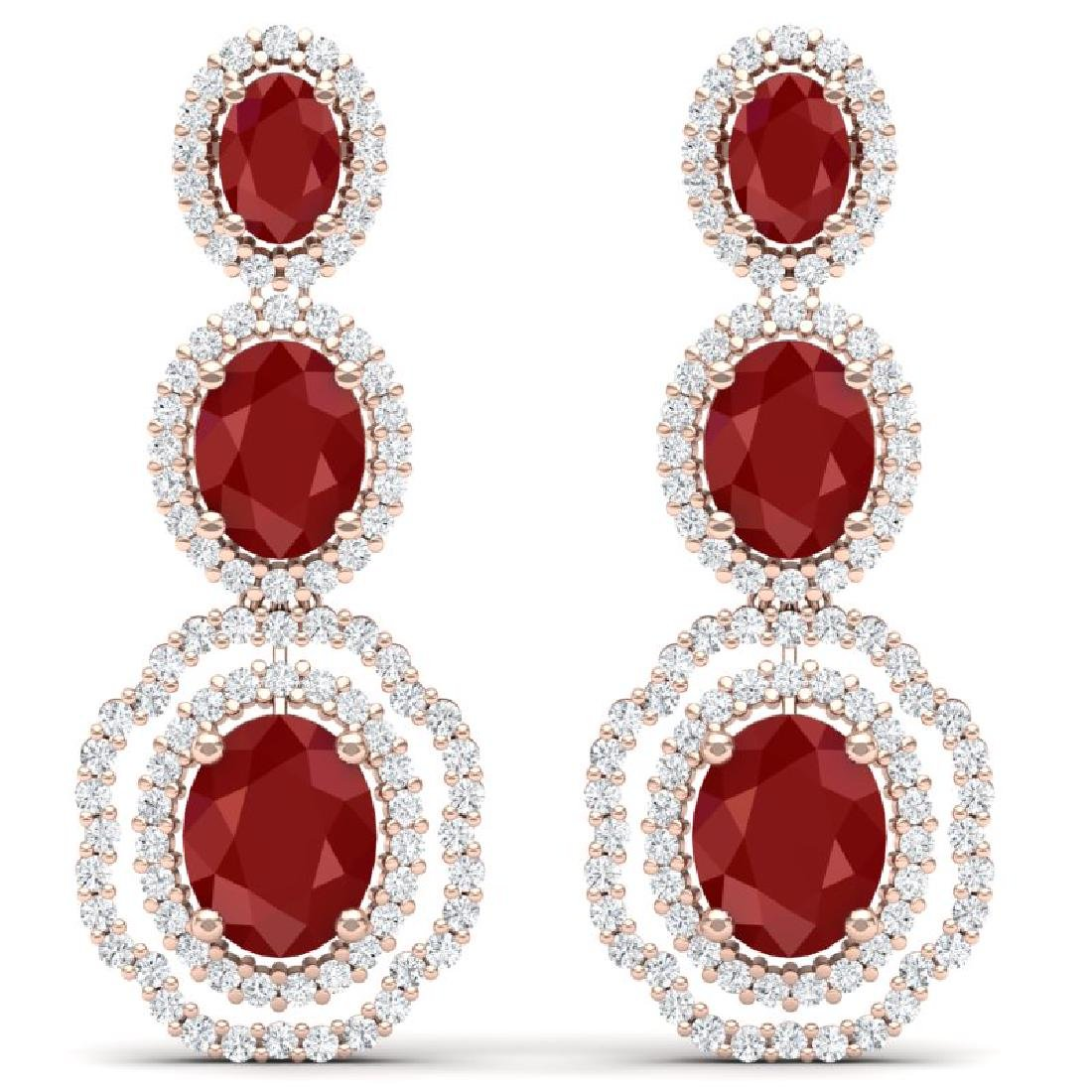 17.01 CTW Royalty Designer Ruby & VS Diamond Earrings