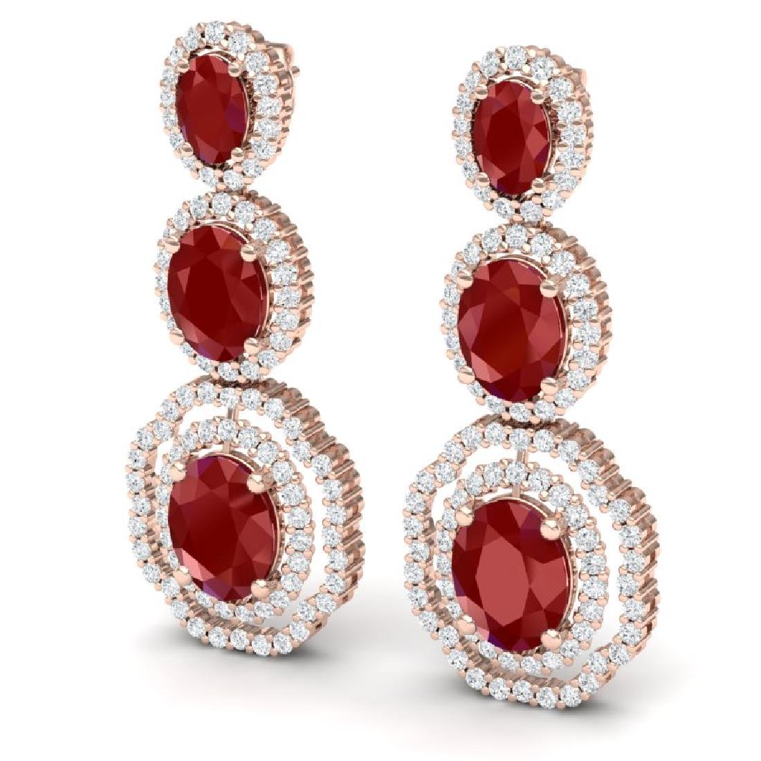 17.01 CTW Royalty Designer Ruby & VS Diamond Earrings - 2