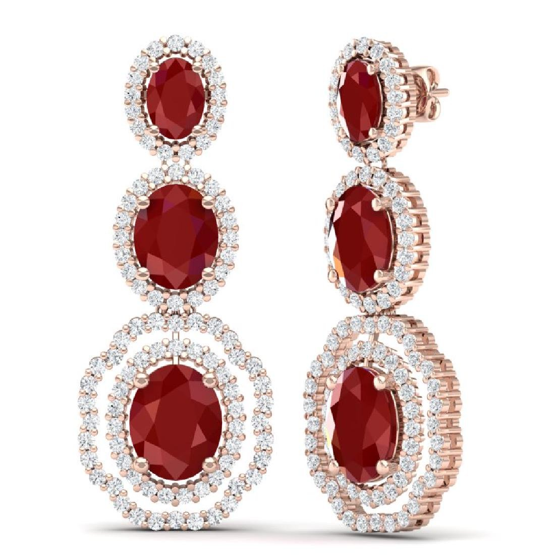 17.01 CTW Royalty Designer Ruby & VS Diamond Earrings - 3