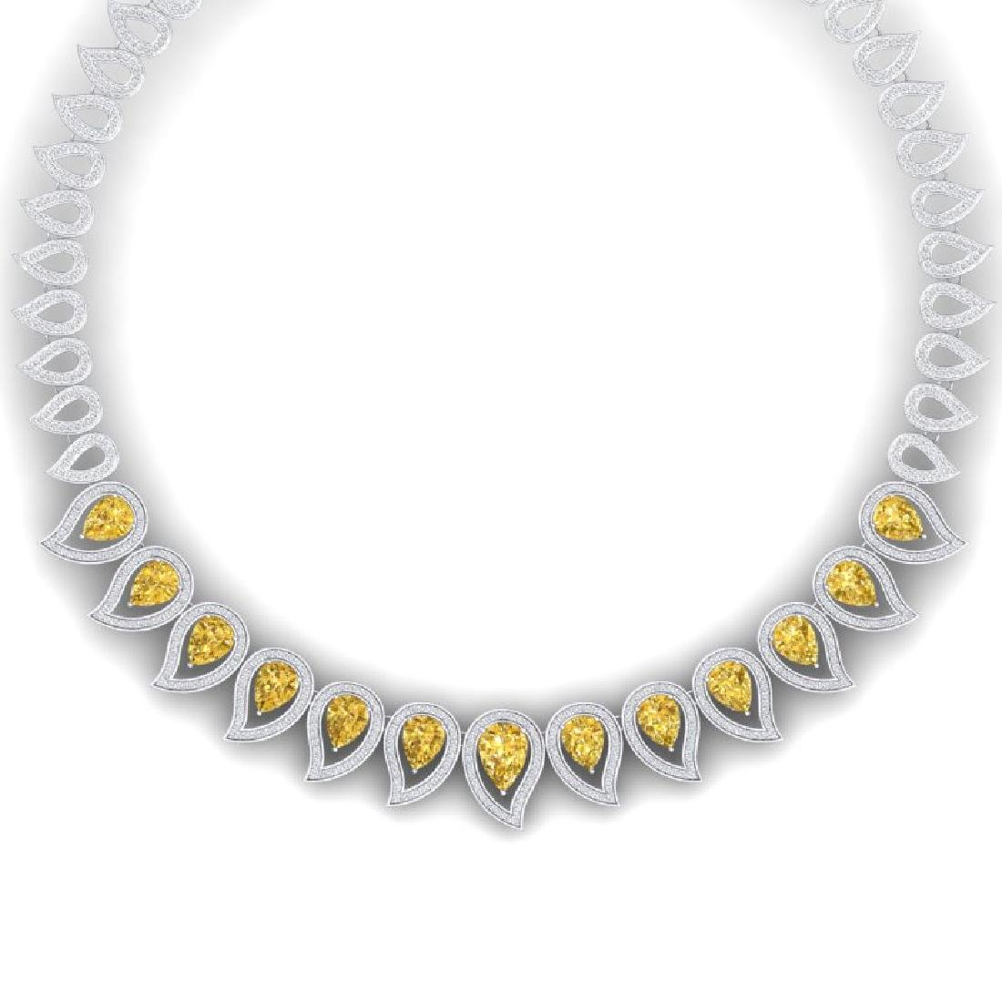 31.74 CTW Royalty Canary Citrine & VS Diamond Necklace