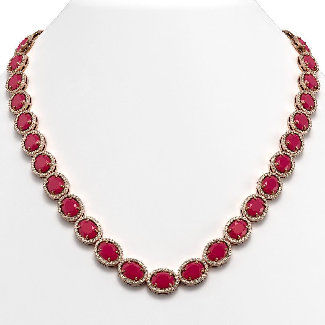 71.87 CTW Ruby & Diamond Halo Necklace 10K Rose Gold