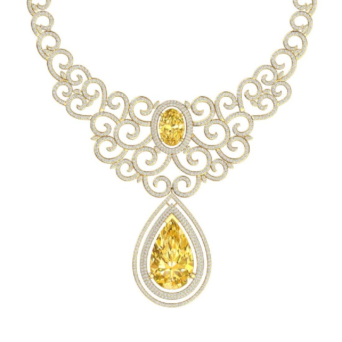 73.43 CTW Royalty Canary Citrine & VS Diamond Necklace - 2