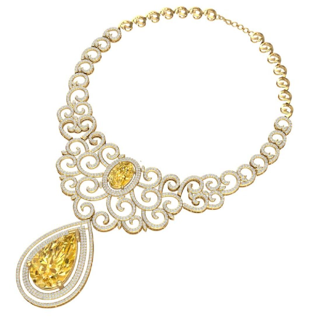 73.43 CTW Royalty Canary Citrine & VS Diamond Necklace - 3
