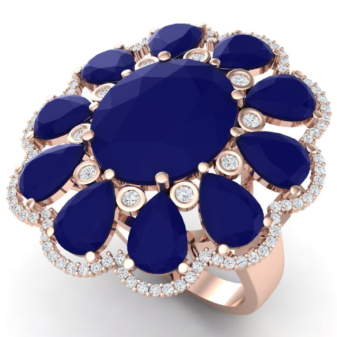20.63 CTW Royalty Sapphire & VS Diamond Ring 18K Rose