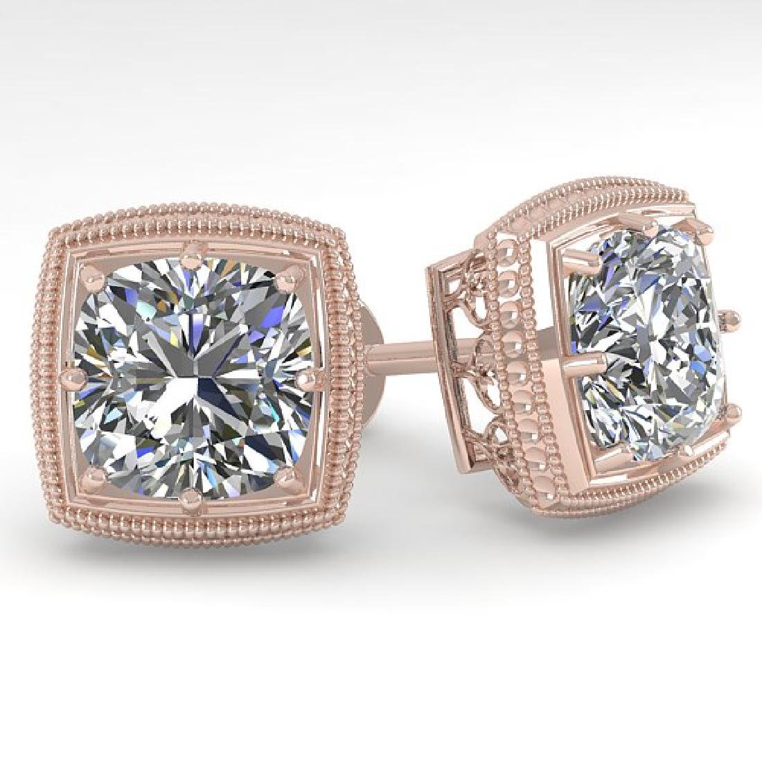 2.0 CTW VS/SI Cushion Cut Diamond Stud Earrings Deco