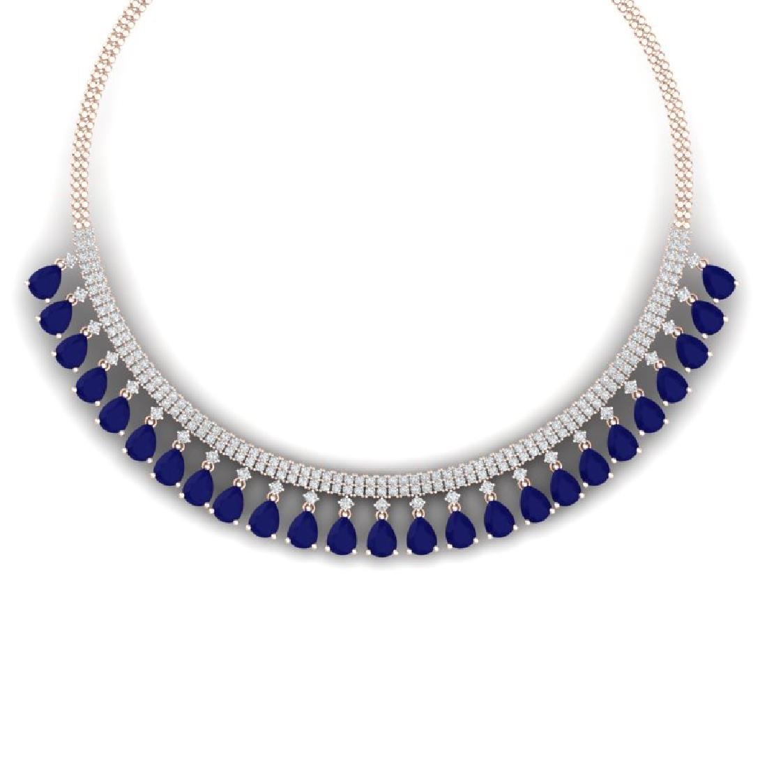 51.75 CTW Royalty Sapphire & VS Diamond Necklace 18K