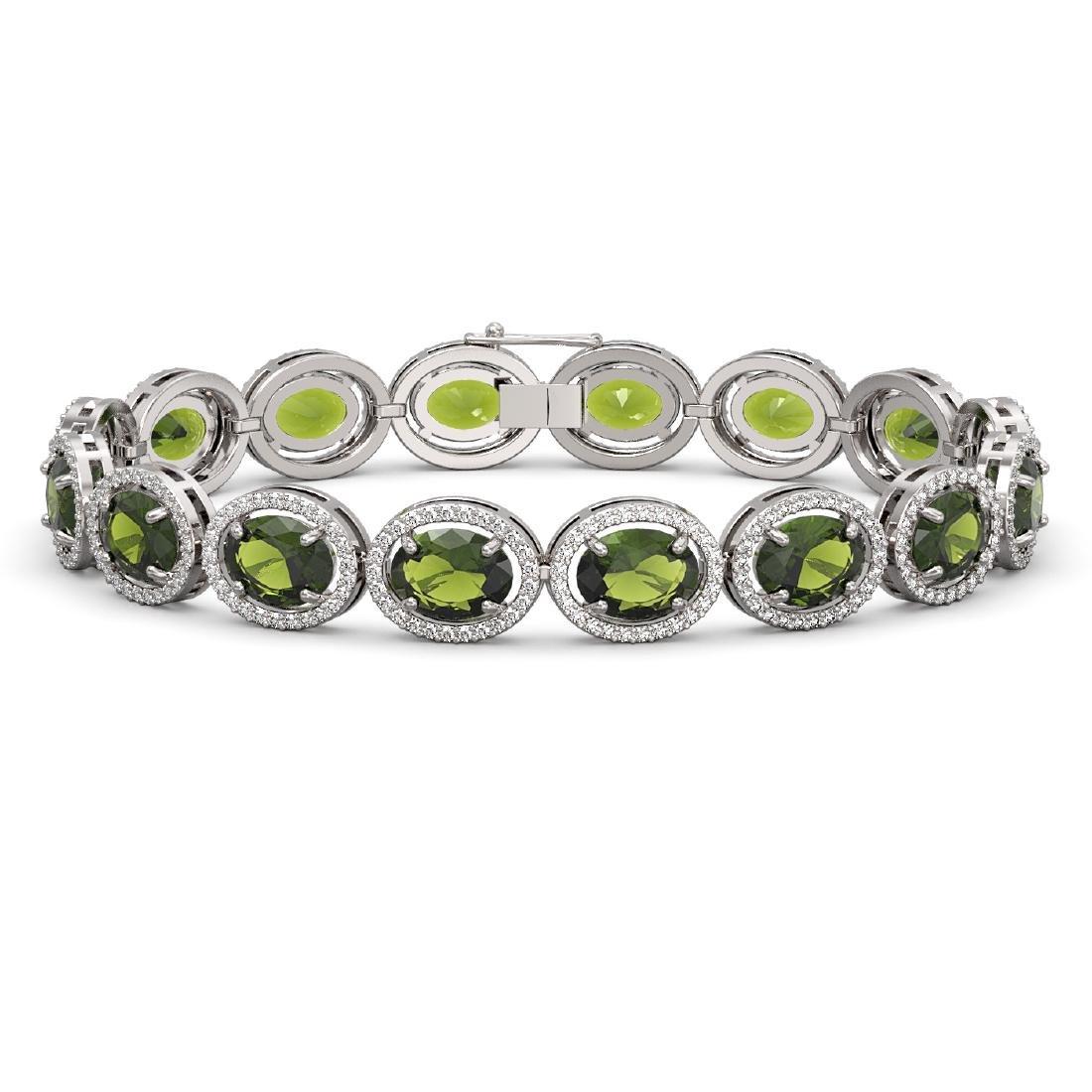 23.6 CTW Tourmaline & Diamond Halo Bracelet 10K White