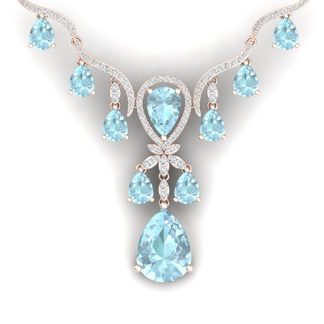 38.14 CTW Royalty Sky Topaz & VS Diamond Necklace 18K
