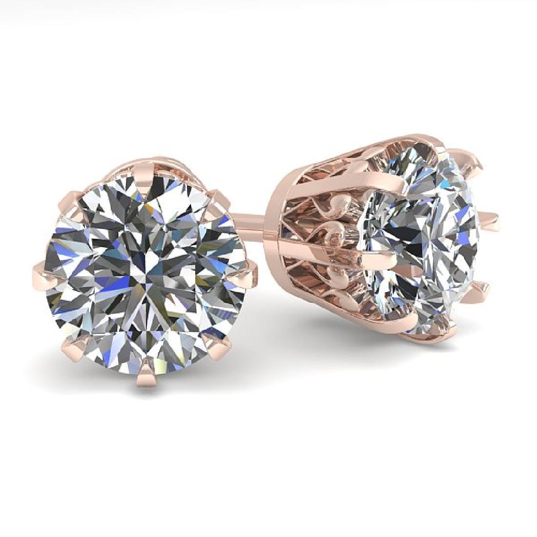 2.50 CTW VS/SI Diamond Stud Solitaire Earrings 18K Rose