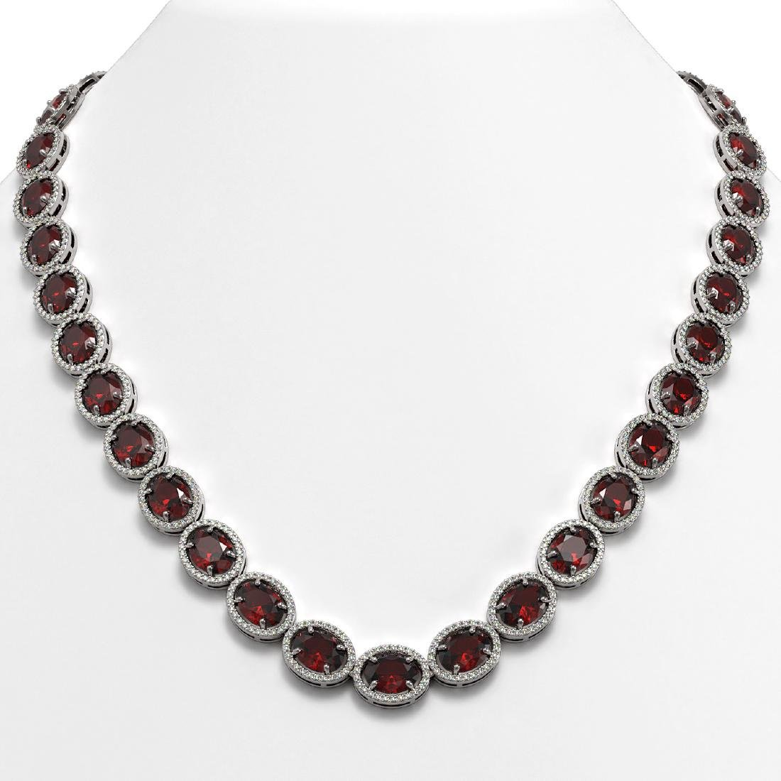 62.99 CTW Garnet & Diamond Halo Necklace 10K White Gold
