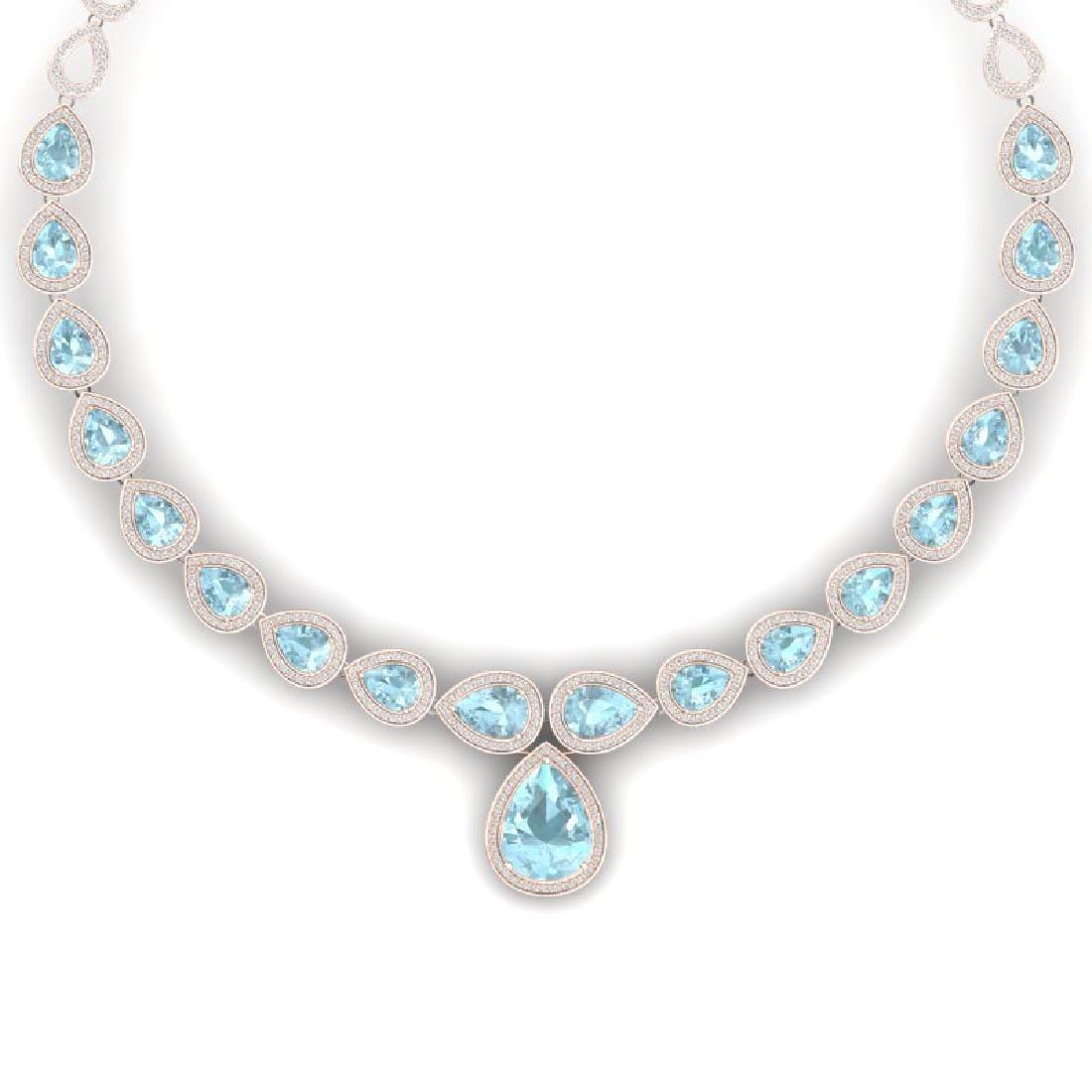 54 CTW Royalty Sky Topaz & VS Diamond Necklace 18K Rose