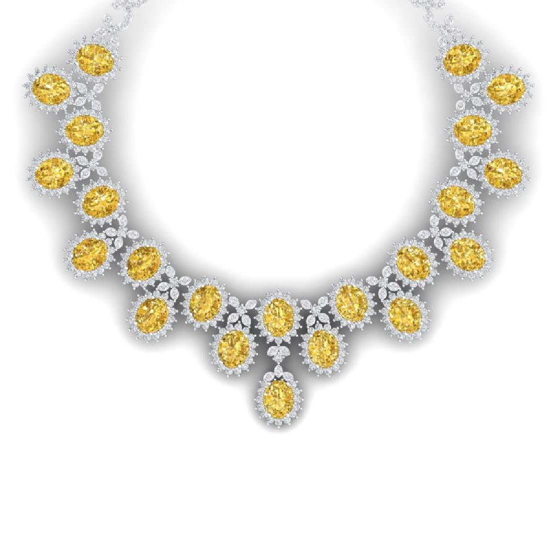 76 CTW Royalty Canary Citrine & VS Diamond Necklace 18K