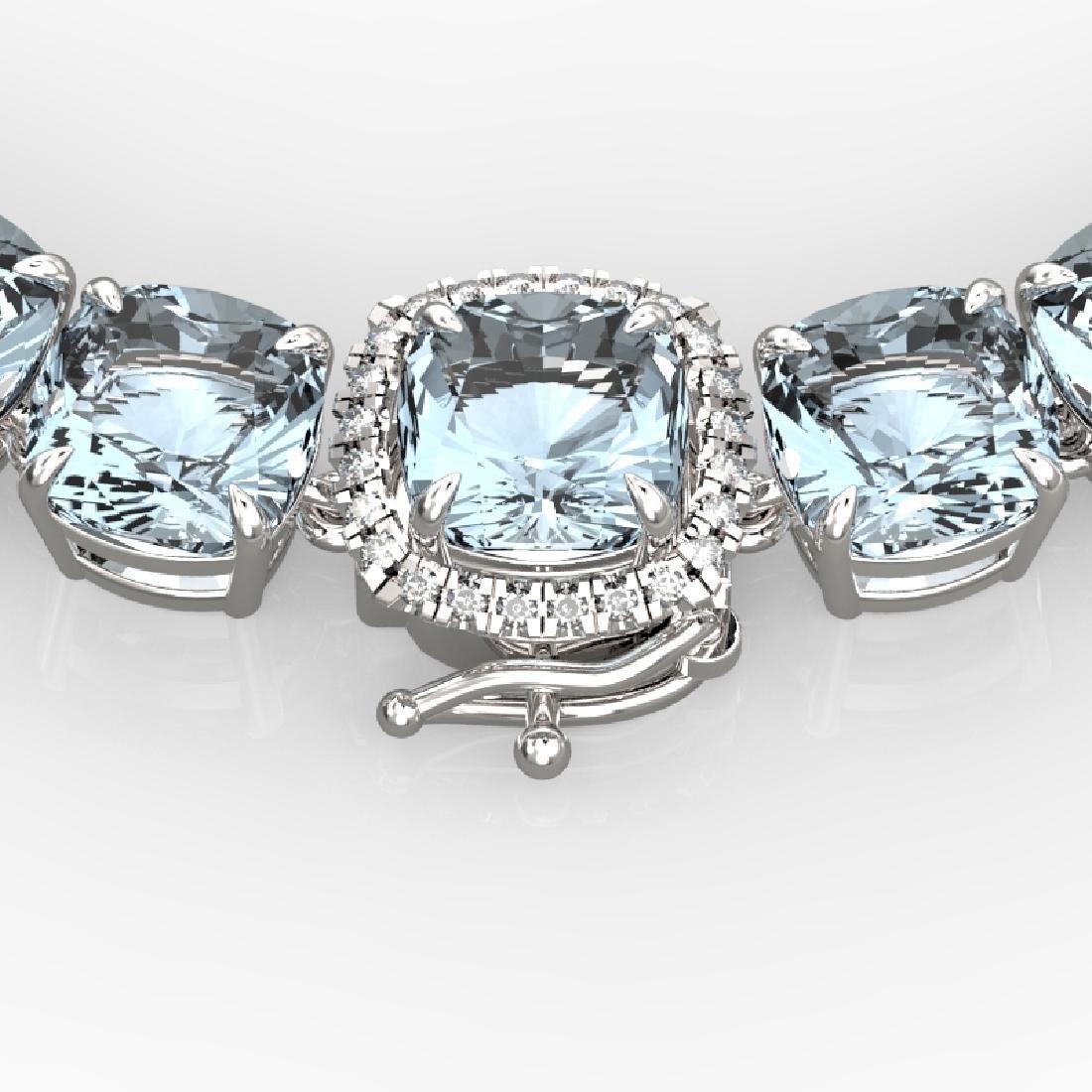 87 CTW Aquamarine & VS/SI Diamond Necklace 14K White