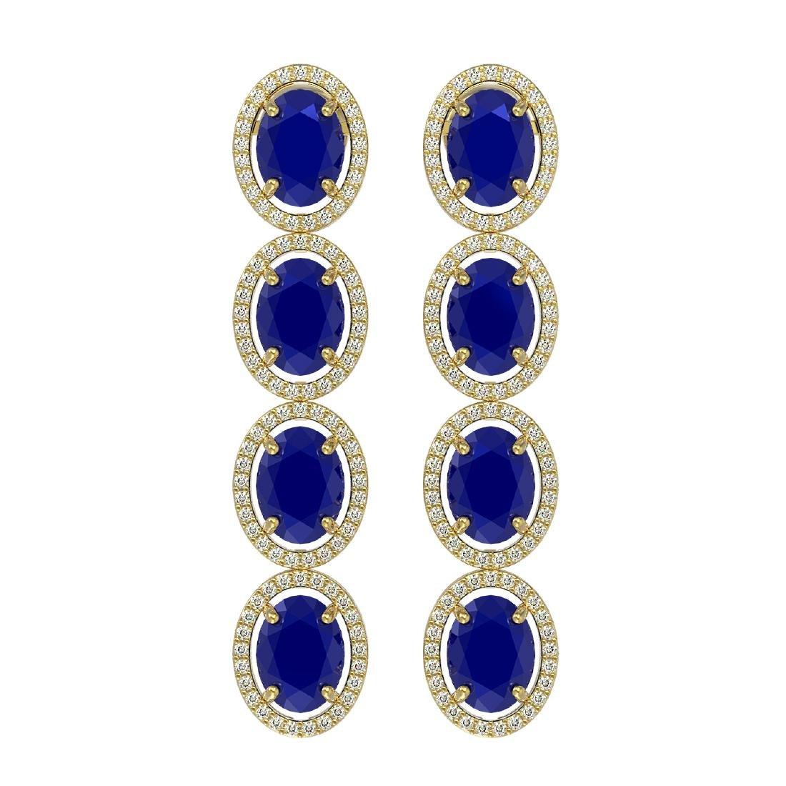 15.68 CTW Sapphire & Diamond Halo Earrings 10K Yellow