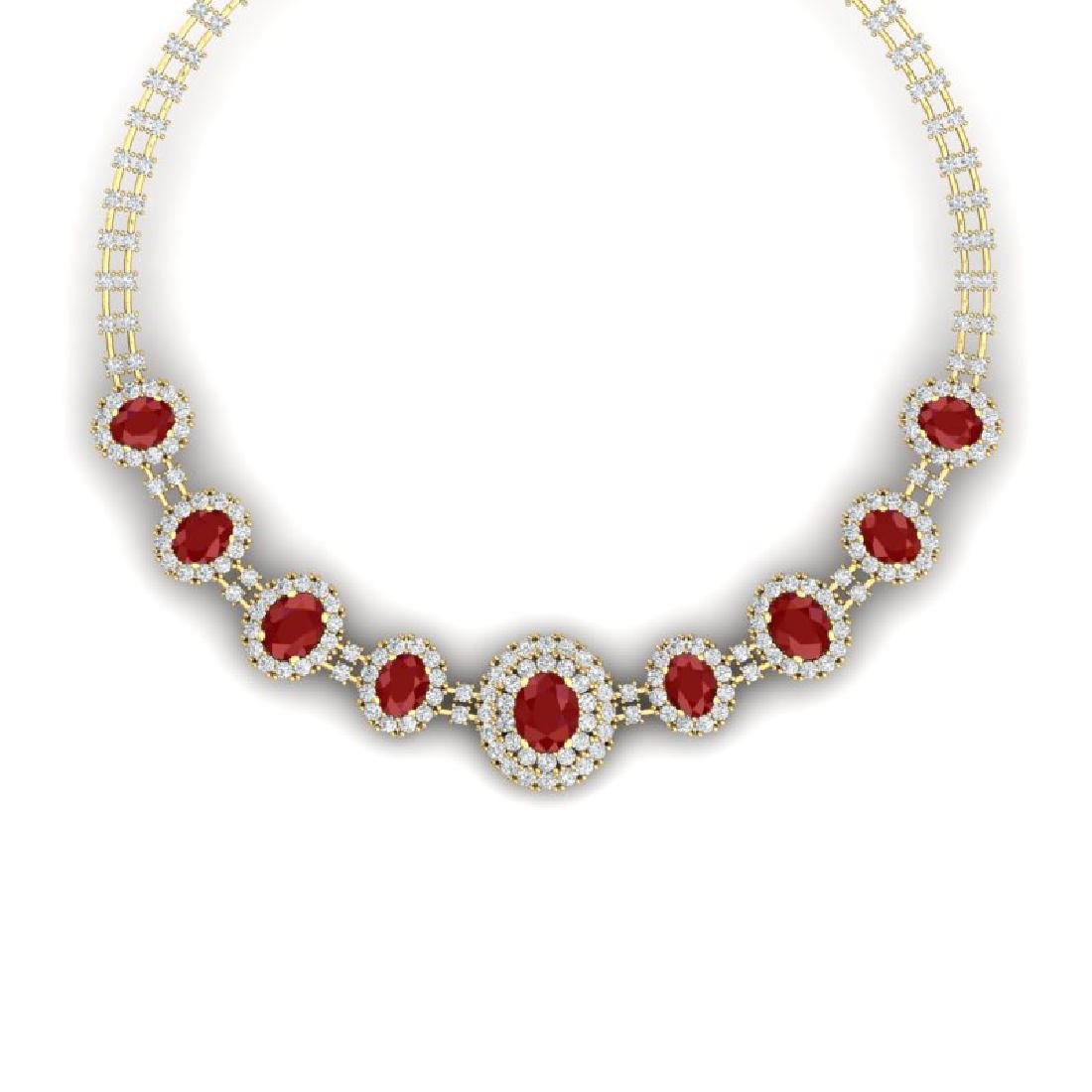 45.69 CTW Royalty Ruby & VS Diamond Necklace 18K Yellow