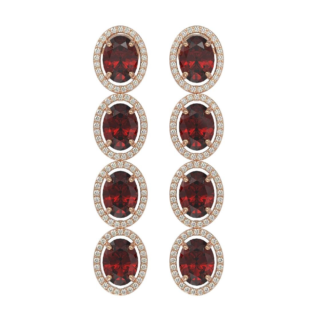 13.64 CTW Garnet & Diamond Halo Earrings 10K Rose Gold