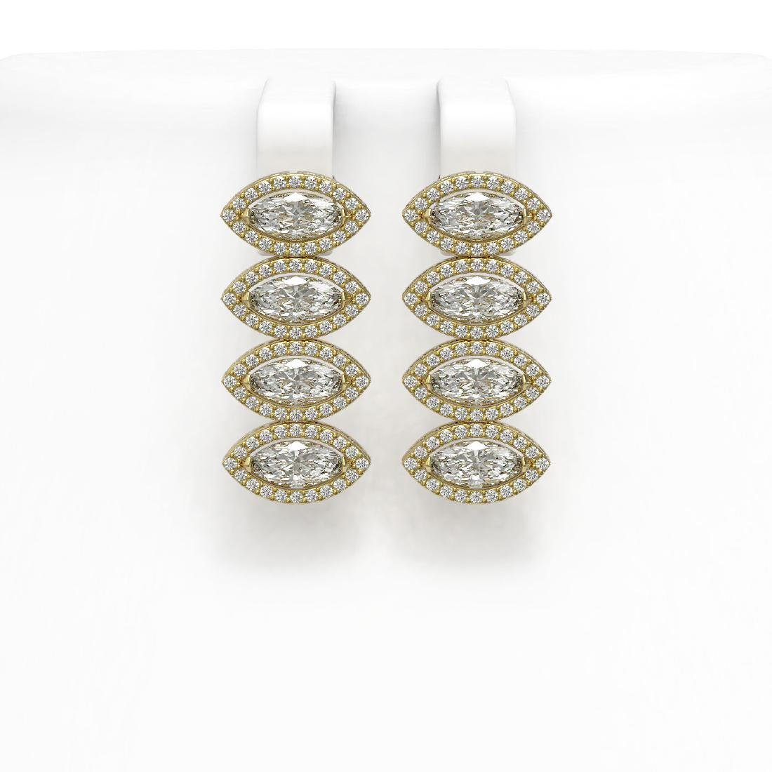 5.92 CTW Marquise Diamond Designer Earrings 18K Yellow