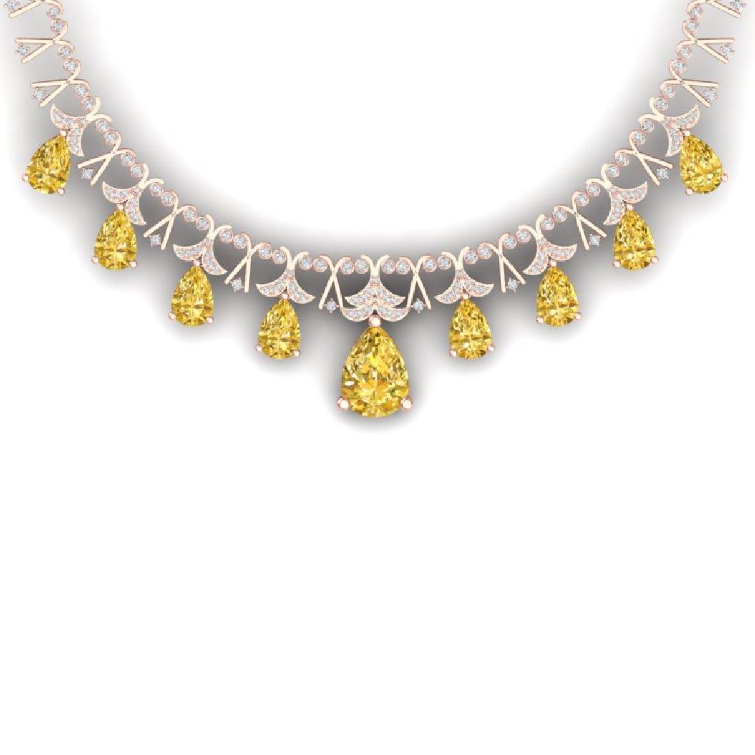 55.49 CTW Royalty Canary Citrine & VS Diamond Necklace
