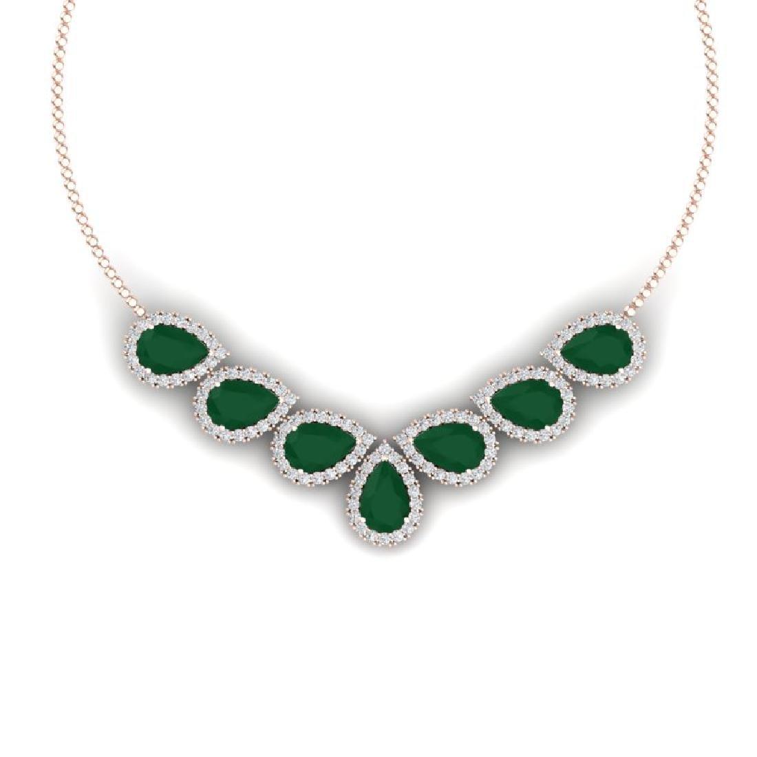 34.72 CTW Royalty Emerald & VS Diamond Necklace 18K