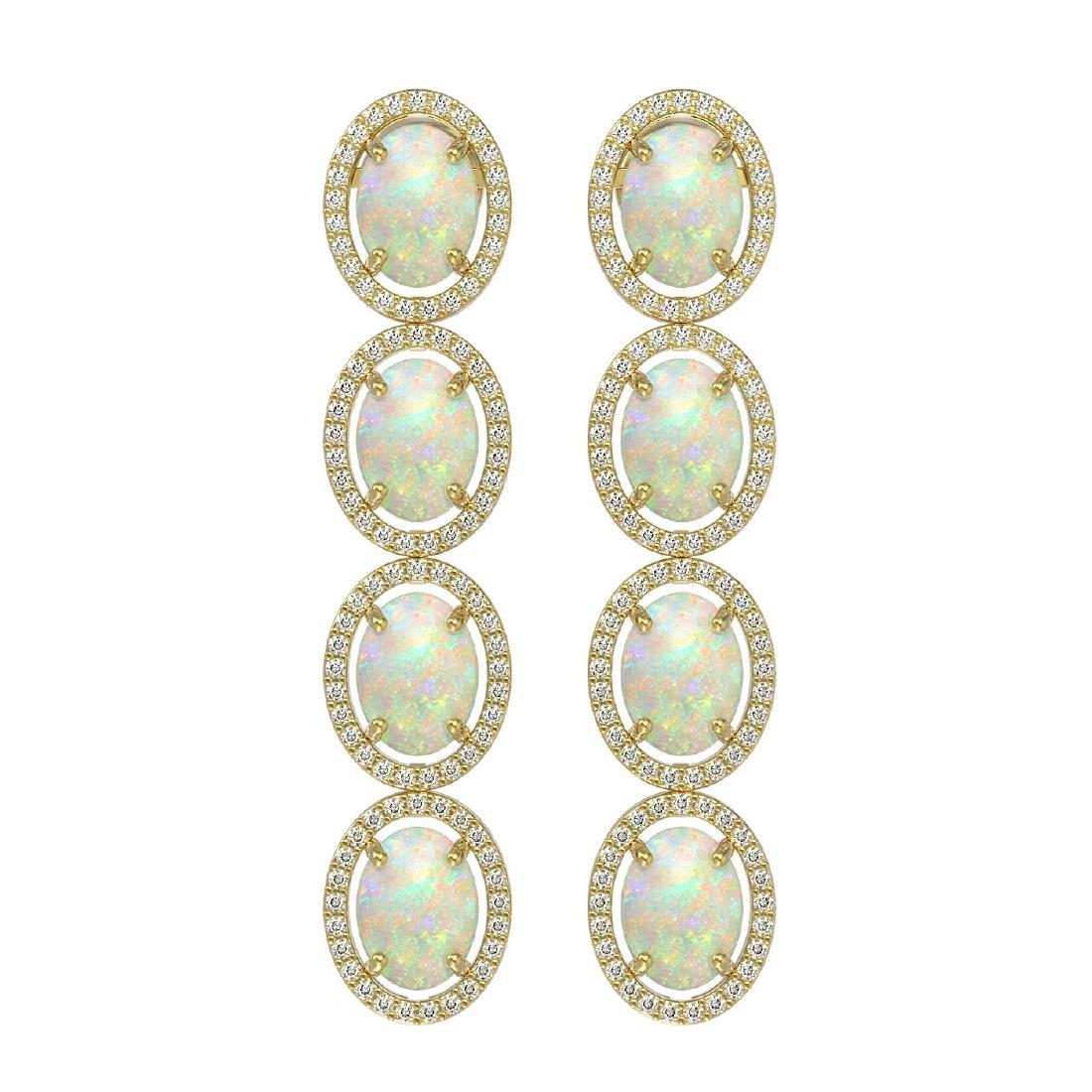 9.16 CTW Opal & Diamond Halo Earrings 10K Yellow Gold