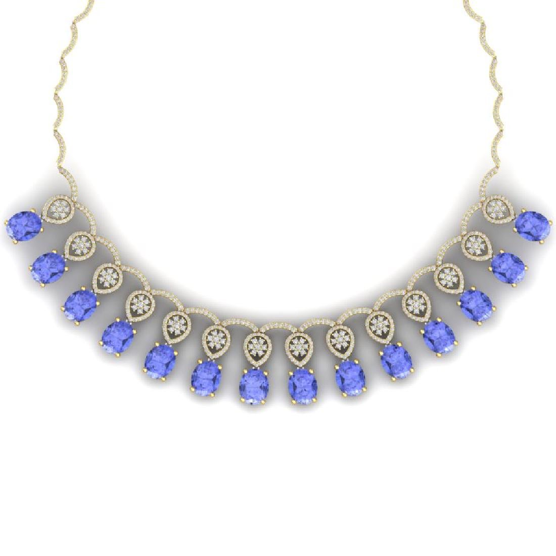 45.56 CTW Royalty Tanzanite & VS Diamond Necklace 18K