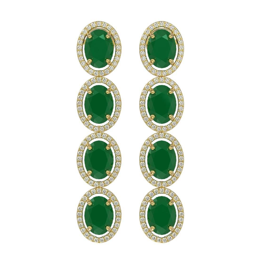 15.68 CTW Emerald & Diamond Halo Earrings 10K Yellow