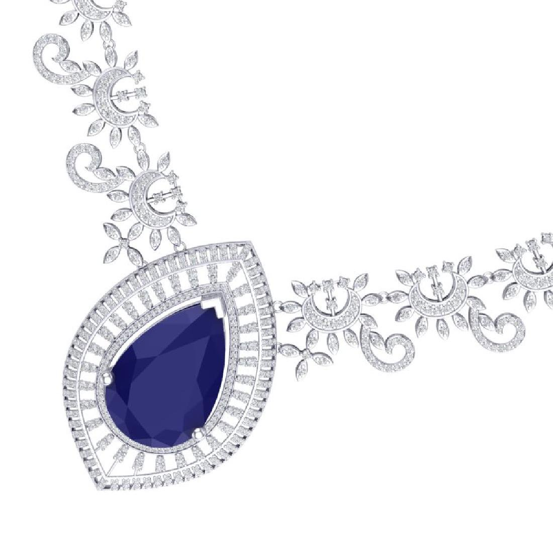 65.75 CTW Royalty Sapphire & VS Diamond Necklace 18K